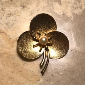 Gold Pearl Signed Brooch